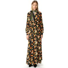 Msgm Floral Maxi Dress (57,030 INR) ❤ liked on Polyvore featuring dresses, ruched dress, floral maxi dress, stripe maxi dress, keyhole maxi dress and long sleeve maxi dress