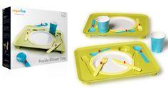 Puzzle Dinner Tray permette ai bambini di mangiare giocando e imparando. www.e-cogift.com