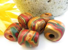 Autumn Spiral Polymer Clay Beads  Cube and by NeeNeeReeBeads