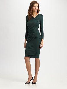 Carven Asymmetrically Draped Jersey Dress