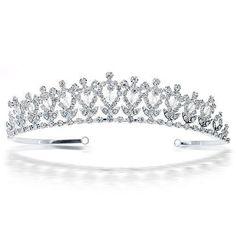 Bling Jewelry Regal Bridal Tiara Headpiece with Crystal Rhinestone Flower