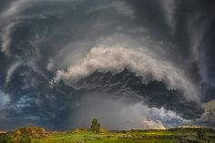Beautiful, although very dangerous supercell thunderstorm, bears down upon Montana grassland