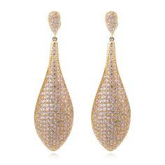 2017 New 70mm Long Leaf Earrings Elegant Lady Trendy Jewelry Women Plant Cz Banquet Party Earring
