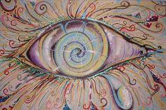 Olho psicodélico - Tinta acrílica e colagem de papel sobre tela.