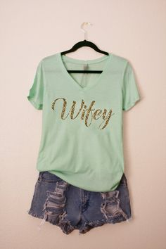 Wifey GOLD GLITTER tshirt Wedding Bride To Be by shopluvolive