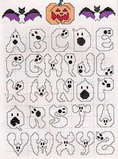 Halloween X-Stitch Alphabet Fall Cross Stitch, Cross Stitch Letters, Cross Stitch Charts, Cross Stitch Designs, Cross Stitching, Cross Stitch Embroidery, Embroidery Patterns, Stitch Patterns, Halloween Embroidery