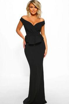 Femmes noir v cut out maxi cocktail sirène dos nu formelle robe de soirée 8-12