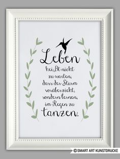"Typo ""Leben heißt.."" / art print "" life means.."" by Smart Art Kunstdruck via DaWanda.com"