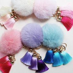 REAL FUR Tassel Pom Pom Keychains 8 Colors $18! BRAND NEW! REAL RABBIT FUR!!    50% OFF   Real Fur Pom Pom 3 Tassel Keychains $18 each or 2/$30! VERY SOFT!!!    Follow me on Instagram @trumpetjewels1 *NOT from Kate Spade marked for exposure    Colors left:  Red  only 2 left!  Royal blue   only 2 left!  Light  blue  Black ⚫️ LAST ONE! Hot pink  Light pink  Light purple  Dark purple  For all other colors, please comment &  I'll get it for you!  PLEASE DO NOT PURCHASE THIS LISTING. Comment…