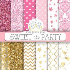 Pink Gold Digital Paper  Sweet 16 Party por royaldigitalstore