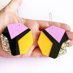 Mega Prism Drop Earrings - Rialto - Laser Cut Glitter Drop Earrings - Each To Own Original