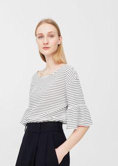 $18 Ruffled sleeve t-shirt - Women | MANGO USA