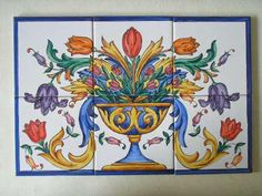 Tile mural, hand painted in Spain.