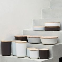 (via High/Low Wood Top Ceramic Containers: Remodelista)