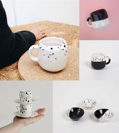 Starter Pack Wholesale Starter Kit Best Sellers Handcrafted Ceramics  Best Sellers 2016! The Starter Pack includes:  12 Large Mug for Coffee : 4 Handmade ceramic mug finished with a ecru and white glaze with speckles. 4 Handmade ceramic mug finished with a ecru and black glaze. 4 Handmade ceramic mug finished with a black and white glaze with speckles. Size: 7ø x 8 cm  12 Engagement Ring Holder: 4 Handmade jewelry dish with three little legs in the bottom, finished with white and ecru glaze…