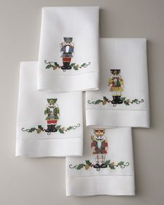 """Four """"Nutcracker"""" Holiday Guest Towels at Neiman Marcus."""