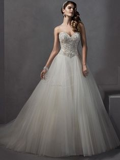 Sweetheart Princess/Ball Gown Wedding Dress  with Dropped Waist in Tulle. Bridal Gown Style Number:33040882