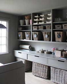 contemporary country storage - gorgeous paint shade and baskets