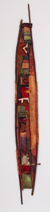 """18"""" X 50""""; new and embellished textiles, willow branch, found objects, copper"""