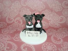 Custom Made Pitbull Wedding Cake Topper on Etsy, $75.00 switch the bows around and I have a match lol