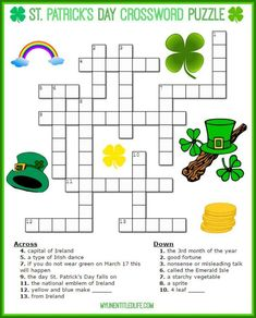st patricks day crossword puzzle for kids patricks day party activities st. Patrick's Day Crossword Puzzle Printable for free St Patricks Day Spiele, St. Patricks Day, St Patricks Day Crafts For Kids, St Patrick's Day Crafts, March Crafts, Kid Crafts, San Patrick, St Patrick Day Activities, Activities For Kids