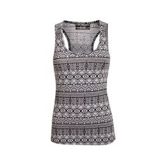 Pilot Evie All Over Aztec Print Vest Top ($7.15) ❤ liked on Polyvore featuring tops, racerback tank, racerback vest, sleeveless tank, pattern vest and racerback tank tops