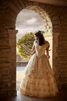 Beauty and the Beast New Style Belle Wedding Gown Ivory/Gold