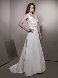 a0989ac8f882 Charming v-neck sleeveless satin wedding dress Read More   http   weddingspnina