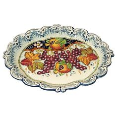 CERAMICHE D'ARTE PARRINI - Italian Ceramic Tray Serving Plate Grape Art Pottery Made in ITALY Tuscan