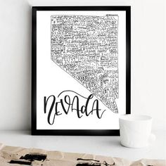 This Nevada State Print was hand lettered and digitized for production in my own home studio. It measures 8 inches by 10 inches and would look great in your office, college residence hall room or home living room! Frame NOT included. This piece features some of the most well-known