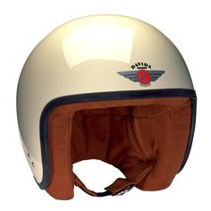 Davida helmet with ECE - the JET with creme paint and brown leather