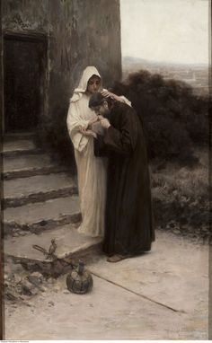 Piotr Stachiewicz — Farewell of Christ and Mary — 1900 oil on oak board, 58x35.6 cm