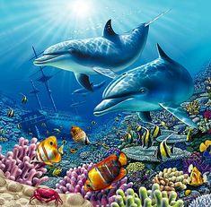 flag of Ocean Simply breathtaking - sea life Underwater Art, Underwater Creatures, Ocean Creatures, Dolphin Images, Dolphin Art, Sea Life Art, Sea Art, Water Animals, Wale