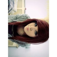 Emo red hair ❤ liked on Polyvore featuring beauty products, haircare, hair styling tools, hair, people, girls, emo, hair styles, backgrounds and red hair care