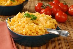 Homestyle mac and cheese made with elbow macaroni, cheddar cheese, evaporated milk, regular milk, and eggs.