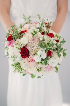 Romantic Spring or Summer wedding bouquet for classic wedding. Vibrant color palette with red and blush pink roses with lush greens. Blush Pink Wedding Flowers, Spring Wedding Bouquets, Red Bouquet Wedding, Pink Bouquet, Bride Bouquets, Red Wedding, Floral Bouquets, Floral Wedding, Wedding Colors