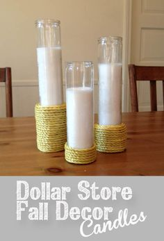 Dollar Store Fall Decor Candles