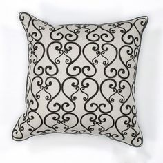 KAS Rugs Pillow 120 White and Black Luminous Hand-Made 100% Cotton Pillow with P White and Black Home Decor Pillows Pillows