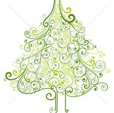 Christmas tree with swirls and floral style by Onfocus on dreamsimages.com