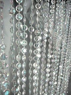 Clear Iridescent Faux Crystals Beaded Curtain Room Divider 3ft X 6ft New |  EBay