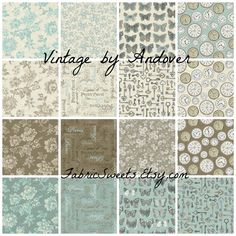 VINTAGE Themed Fabrics Aqua Cream and Taupe Designer Quilting Sewing Fabric Andover by FabricSweets