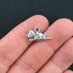 12 Cat Charms Antique Silver Tone Cute 2 Sided by BohemianFindings, $2.50