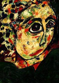 """Saatchi Art Artist CARMEN LUNA; Painting, """"22-RETRATOS Expresionistas. Carnaval en Venezia."""" #art http://www.saatchiart.com/art-collection/Painting-Assemblage-Collage/Expressionist-Portrait/71968/51263/view"""