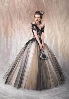 A Line V Neck Floor Length Black Wedding Dress 021551029001