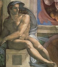 Michelangelo - Ceiling of the Sistine Chapel: Ignudi, next to Separation of Land and the Persian Sybil, Fresco 1508-1512 #michelangelo #paintings #art