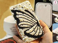 Free Phone Case & New Pearls Butterfly Style Bling DIY Deco Kit Decoden Kit Cabochon Deco Kit For DIY Cell Phone iPhone 4G 4S 5 Case
