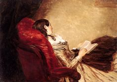 Let's read... sometimes it makes me sleepy, too...   Isabelle Asleep, 1867, William Powell Frith