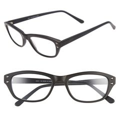 A.J. Morgan 'Crest' 48mm Reading Glasses ($42) ❤ liked on Polyvore featuring accessories, eyewear, eyeglasses, matte black, lightweight reading glasses, reading eye glasses, black glasses, acetate glasses and black eye glasses