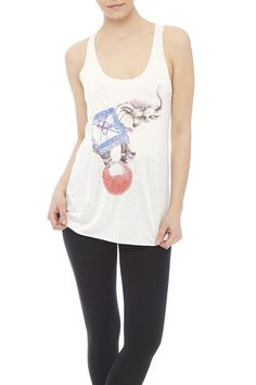 White circus elephant printed tank with a scoop neckline and a scoop neckline.  Circus Elephant Tank by Bear Dance. Clothing - Tops - Graphic Tees Clothing - Tops - Tees & Tanks Clothing - Tops - Sleeveless Indiana