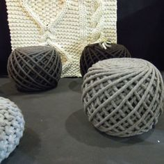 Pouf's. Link is in French. Would love to be able to make these though. I wonder where can you get wool/rope to do it? Please comment if you know. : )